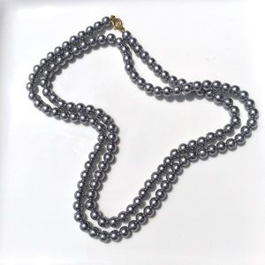 """Jewelry - Gray Faux Pearl Necklace 31.5"""" Strand Opera Length"""
